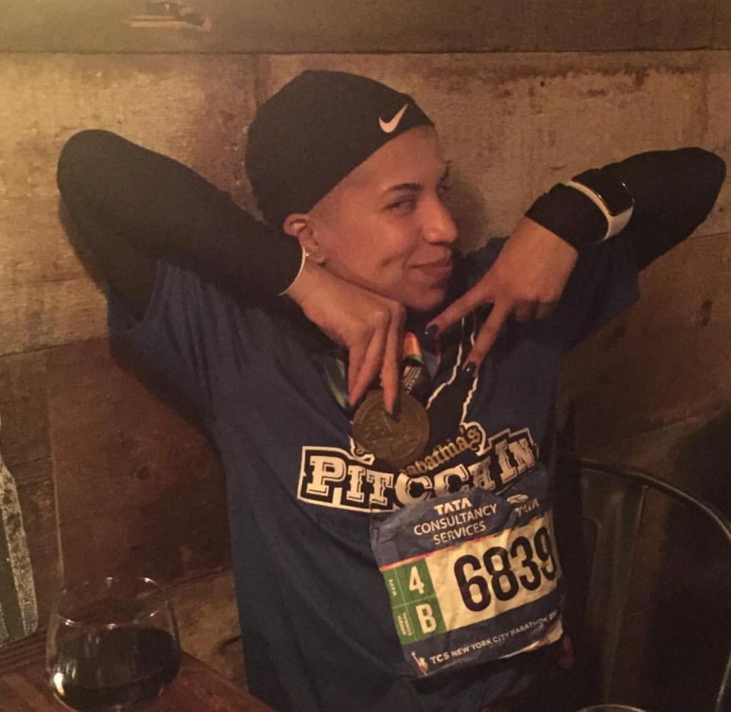 Dana post race celebrating
