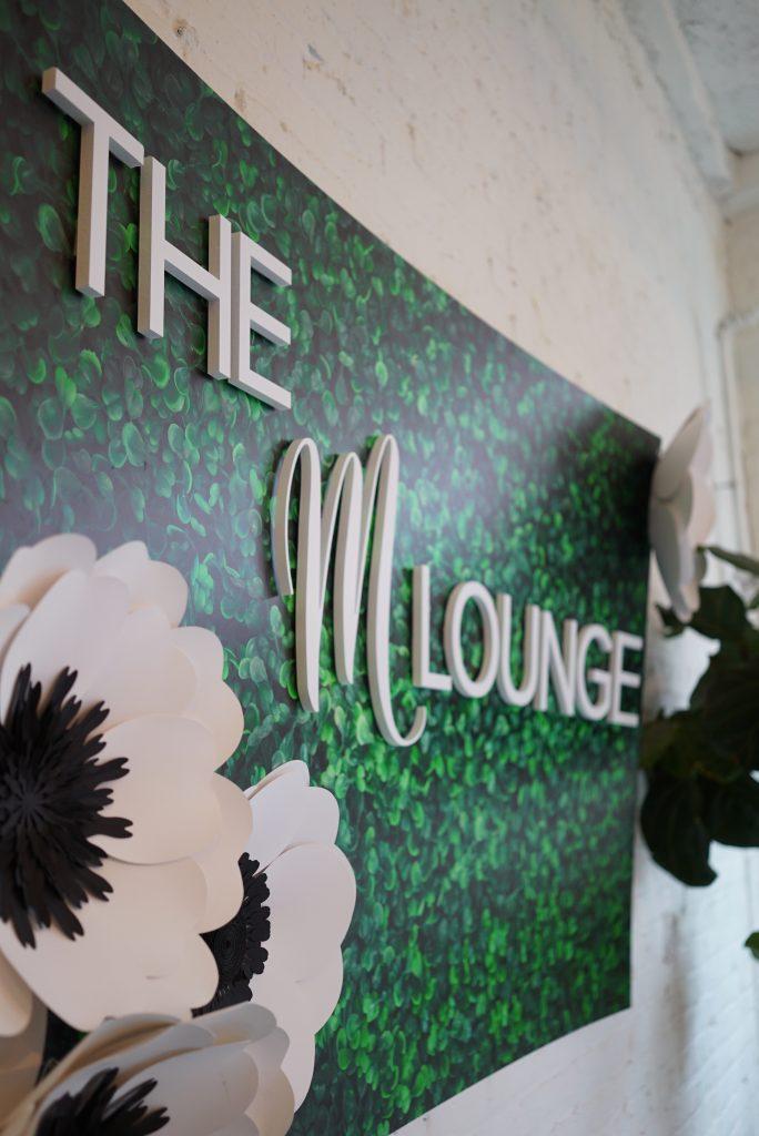 M Lounge signage